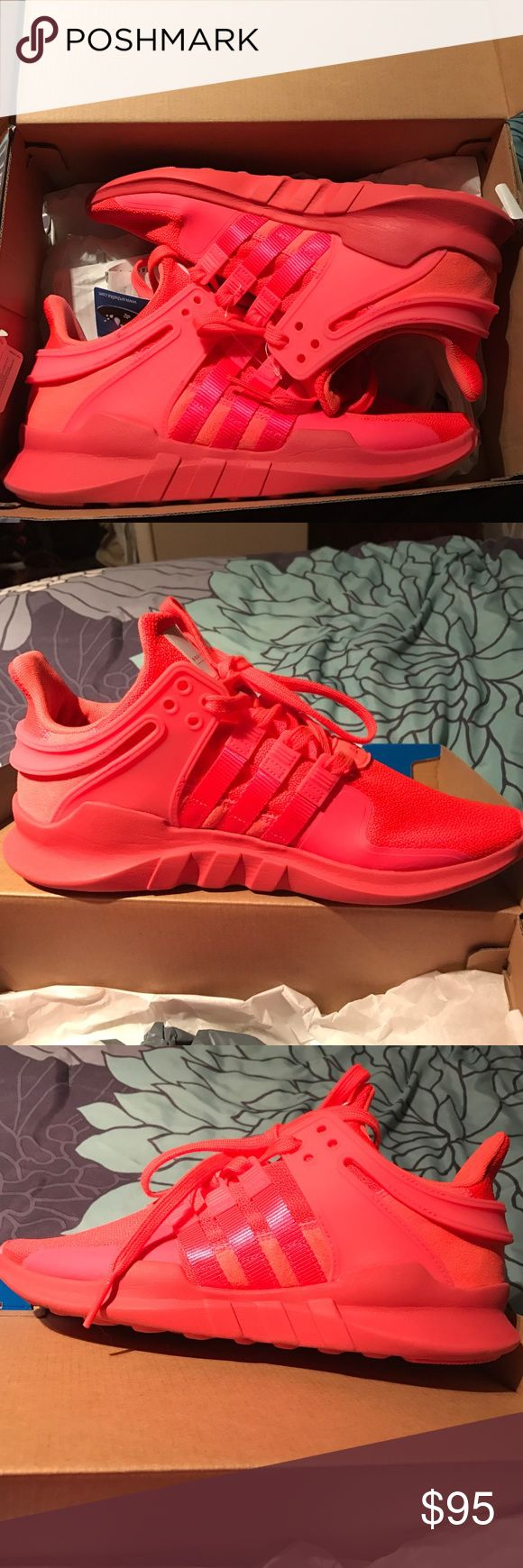 Adidas EQT support ADV. W size 8 1/2. Worn once Only wore these once and they look just about flawless. Women size 8.5 and still have the box. Purchased from footlocker. Tag is inside the box but not attached to shoe. Color (Turbo) is hard to find! Adidas Shoes Sneakers