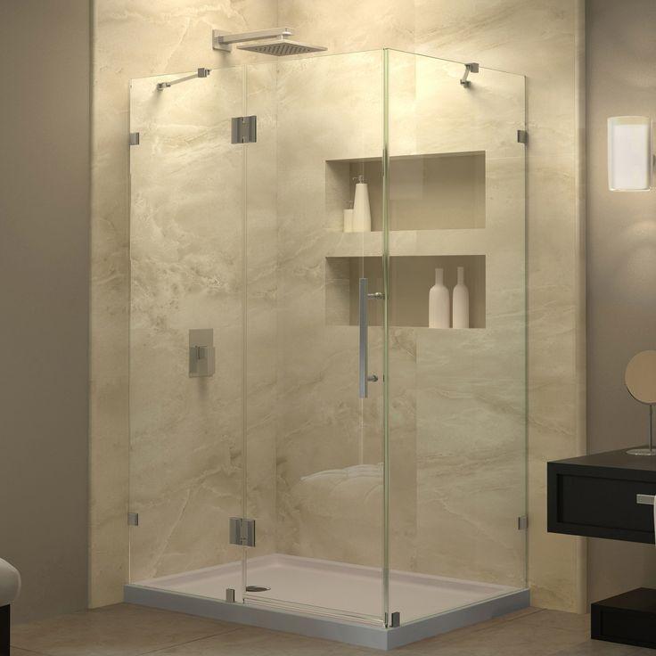 "DreamLine SHEN-1334340-04 QuatraLux 34 5/16"" by 34 5/16"" Frameless Shower Enclosure, Clear 3/8"" Glass, Nickel Finish"