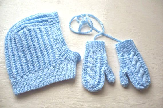 Knitted Balaclava Hat and Matching Blue Gloves with cord by Aalexi