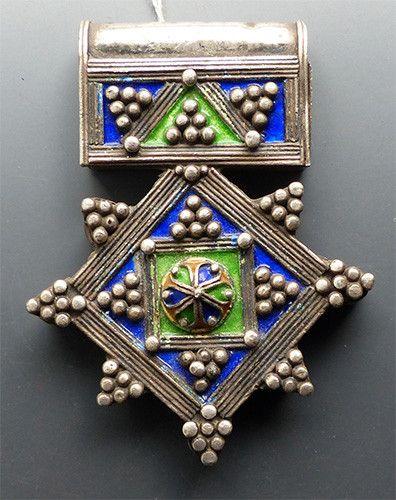Vintage Berber Silver and Enamel Cross