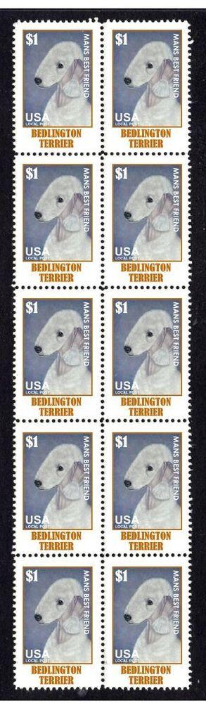 BEDLINGTON TERRIER DOG STRIP OF 10 MINT STAMPS #3