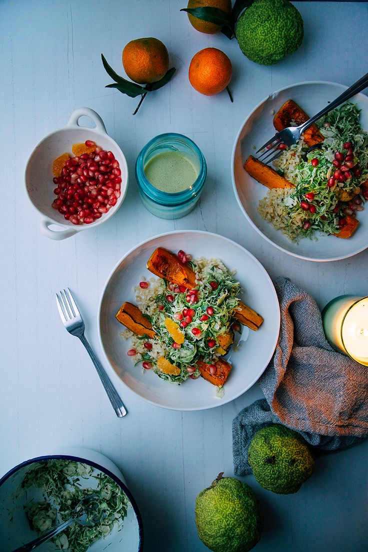 Salty maple squash w/ ginger scallion rice + turmeric brussels slaw via @thefirstmess. Those colors!