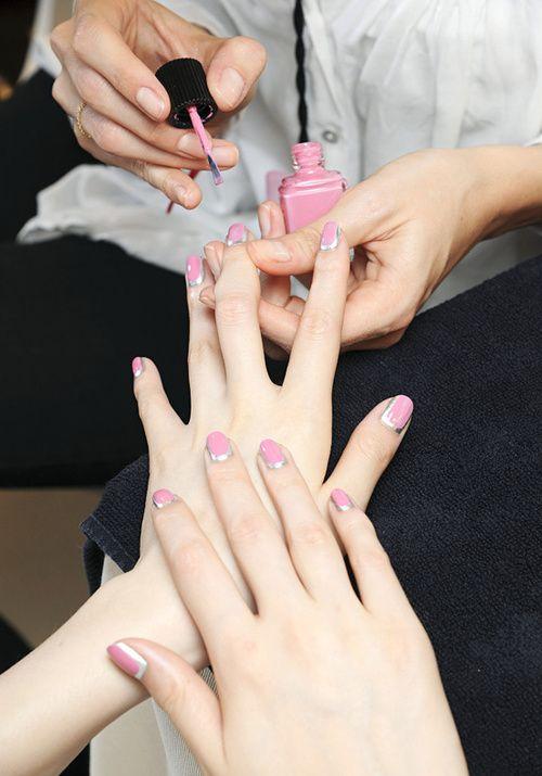 .: Chanel Couture, Nails Art, Chanel Nails, Nailart, Pink Nails, Silver Nails, Beautiful, Fall 2012, Haute Couture
