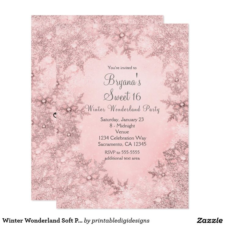 237 best Sweet 16 Quincea era Birthday Invitations images on – Snowflake Birthday Invitations