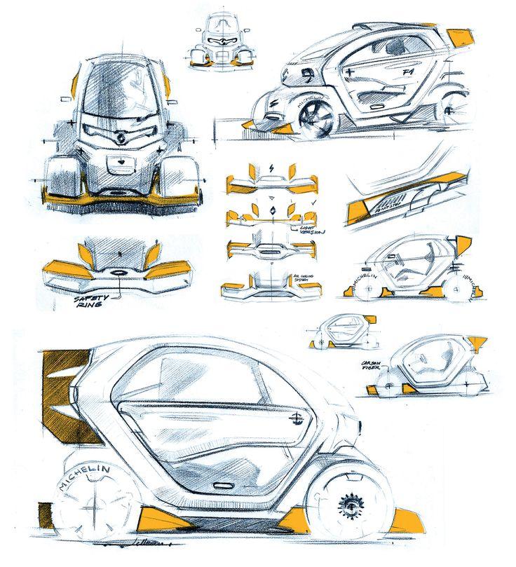 Renault Twizy Sport F1 official sketch by Antoine Pelleau