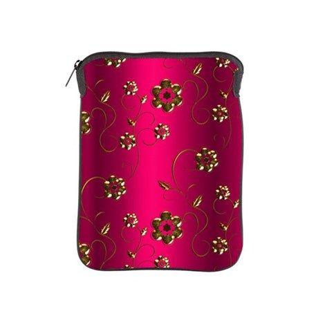 Golden Flowers on Crimson Pink iPad Sleeve on CafePress.com