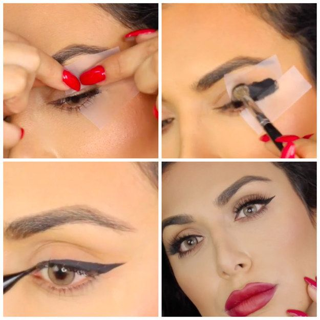 Use tape to get uniform eyeliner, sharp enough to kill a man. | 14 Clever Hair And Makeup Hacks That'll Make You Look Like You Have Your Shit Together