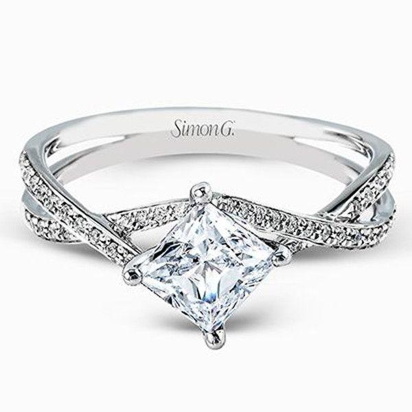 "Simon G. Princess Cut ""Twist"" Split Shank Diamond Engagement Ring"