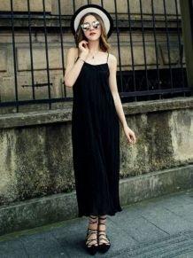 Черный Спагетти ремень плиссированные платья макси