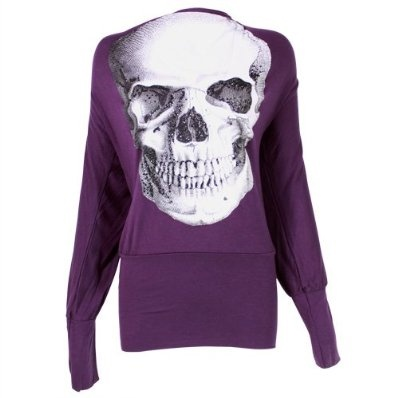 Ladies Batwing Top Long Sleeved Tunic Jumper with Skull Print - Purple £9.99