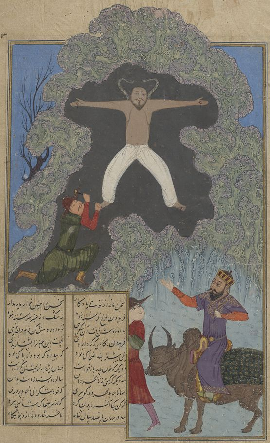 Zahhak pinned to Mount Demavend Ferdowsi, Shahnameh  Timurid: Shiraz, c.1430 Patron: Ebrahim Soltan b. Shah Rokh Illuminator: Nasr al-Soltani  Opaque watercolours, ink and gold on paper  Oxford, Bodleian Library, MS Ouseley Add. 176, fol. 30r