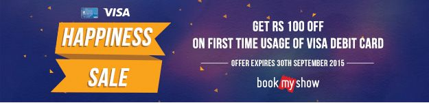 Flat Rs. 100 Off on #Movie #Tickets at #Bookmyshow  only for New #Visa #Card Users