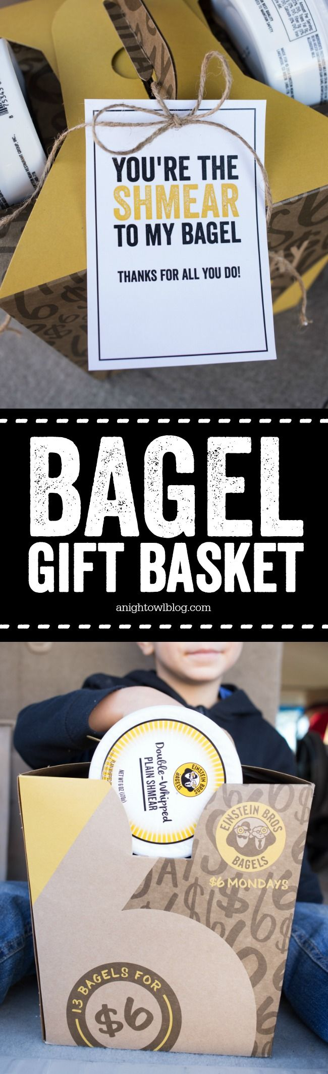 Breakfast Bagel Gift Basket - such a great gift idea for teachers, neighbors and more! With FREE cute printable tags. AD #UnMondayMonday