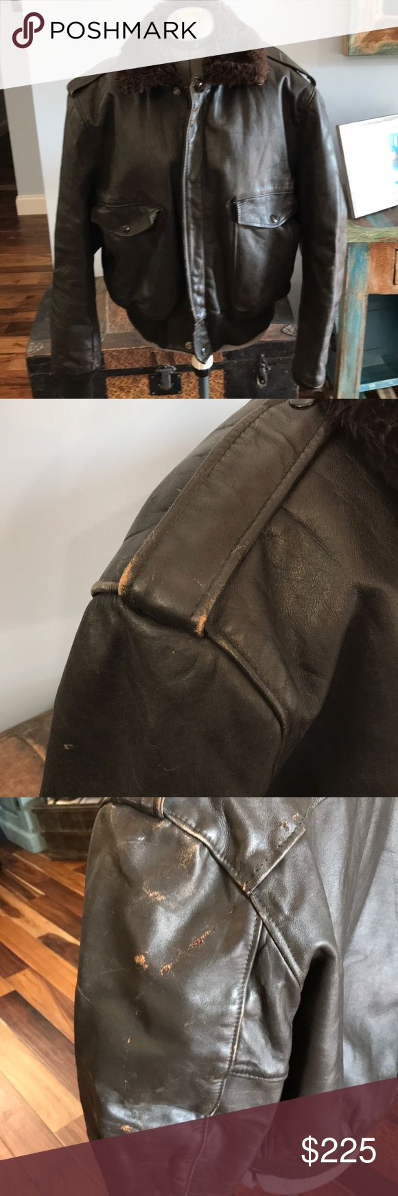 Vintage Vietnam era 1970's Schott Flight Jacket I-S-674-M-S Flight jacket. Brown leather flight bomber jacket. Few scuffs but great condition for how old this jacket is! Size 46 Schott NYC Jackets & Coats