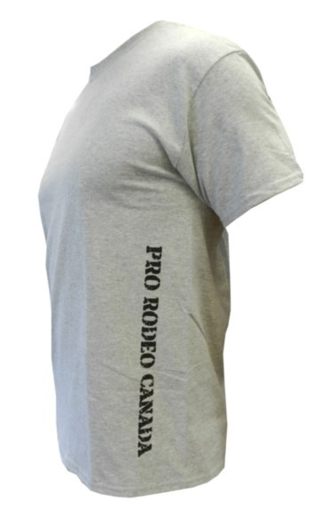 "Mens CPRA Tee - Grey tee with black ""Pro Rodeo Canada"" screenprint text down the left side. 100% Pre-Shrunk Cotton"