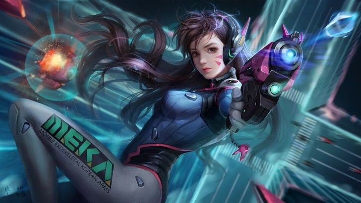 D.Va Overwatch Sci-Fi Girl Art Wallpaper