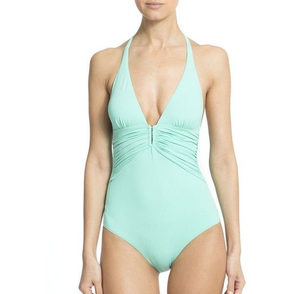 Melissa Odabash One-Piece Maua Deep V Swimsuit (€200) ❤ liked on Polyvore featuring swimwear, one-piece swimsuits, apparel & accessories, mint, one-piece swimwear, one piece bathing suits, one piece swim suit, deep v neck one piece swimsuits and 1 piece bathing suits