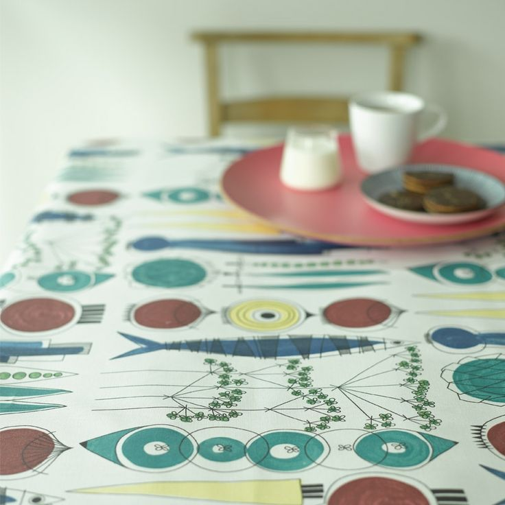 Picknick Swedish cotton printed fabric. A vintage design by Marianne Westman showing simple salad ingredients. It works really well made into a retro tablecloth. From www.newhousetextiles.co.uk