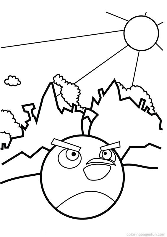 Coloring Page Of The Black Angry Bird