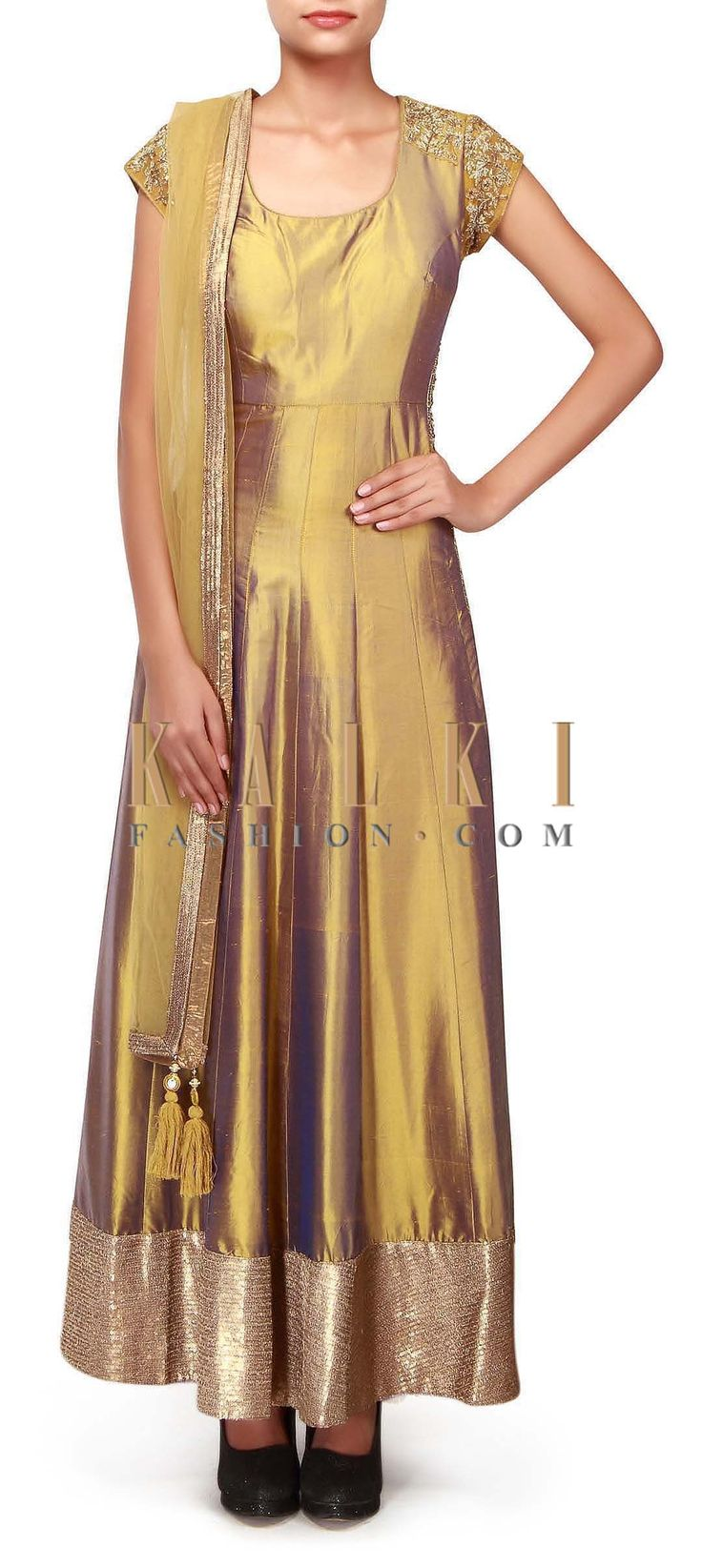 Buy Online from the link below. We ship worldwide (Free Shipping over US$100). http://www.kalkifashion.com/olive-green-anarkali-suit-features-in-zardosi-embroidery-only-on-kalki.html