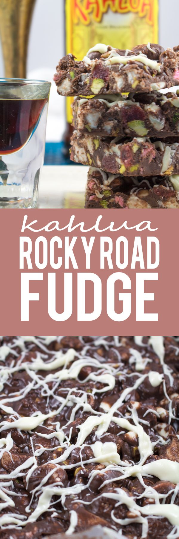 Kahlua Rocky Road Fudge - A chocoholics dream! Chocolate fudge coating with marshmallows, sugar dusted glazed strawberries, pistachios, white chocolate and a splash of Kahlua!! MUST.MAKE.NOW