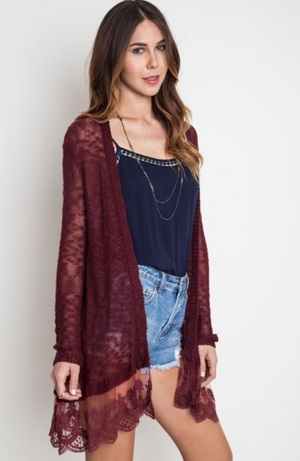 Open Knit Cardigan with Lace Trim