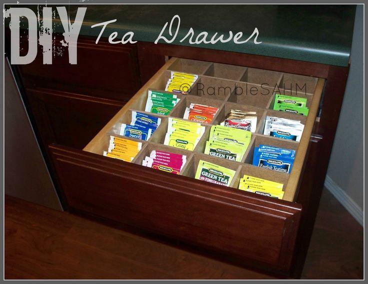 Rambles of a SAHM: Adding A Tea Drawer To My Kitchen