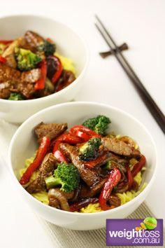Healthy Beef Recipes: Beef & Blackbean with Noodles. weightloss.com.au #HealthyRecipes #DietRecipes #WeightlossRecipes