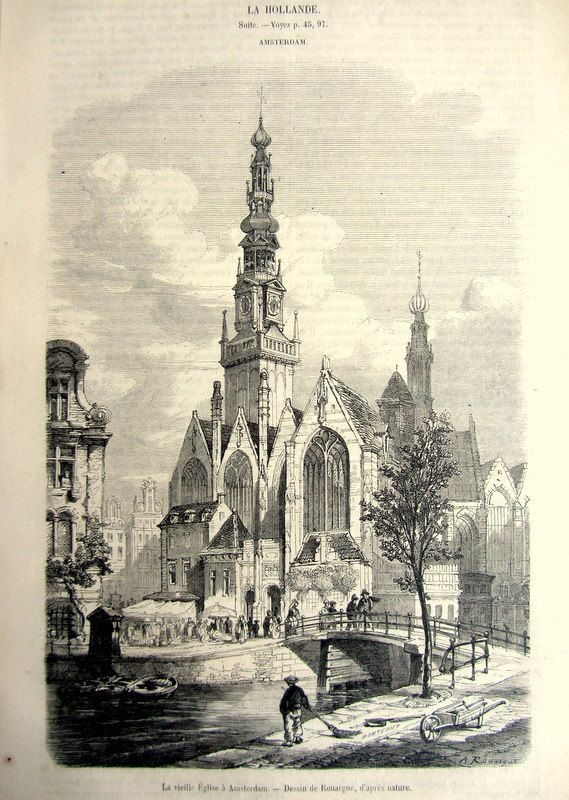 Old Church Oude Kerk in Amsterdam print 1860 by LyraNebulaPrints, $22.00