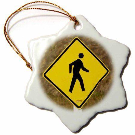 3dRose Pedestrian sign, Central Otago, South Island, New Zealand-AU02 DWA6718 - David Wall, Snowflake Ornament, Porcelain, 3-inch