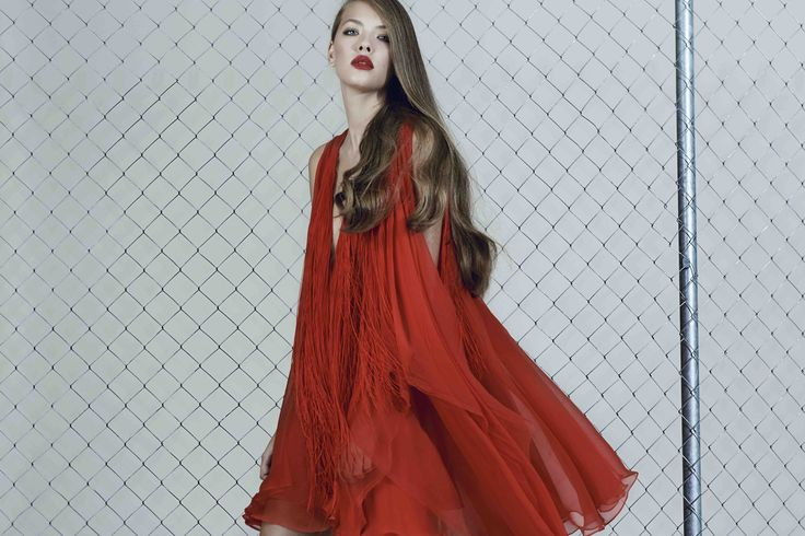 Red silk dress with fringes from our Fall/Winter 2015 collection: http://manuri.ro/product/manuri-harlem-dress/
