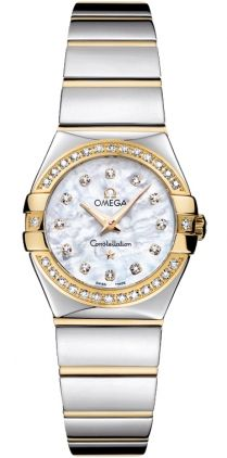 123.25.24.60.55.007   NEW OMEGA CONSTELLATION LADIES MINI WATCH     Usually ships within 8 weeks - FREE Overnight Shipping - NO SALES TAX (Outside California)- WITH MANUFACTURER SERIAL NUMBERS- White Mother of Pearl Diamond Dial - Diamonds Set on Bezel - Battery Operated Quartz Movement- 3 Year Warranty - Guaranteed Authentic - Certificate of Authenticity - Manufacturer Box