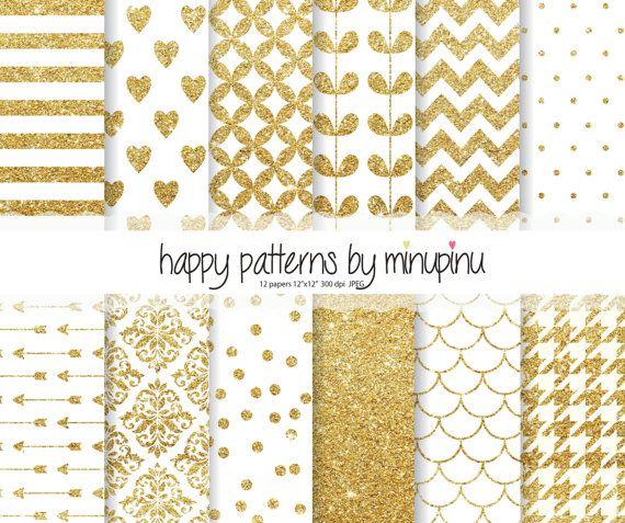 Goud Glitter digitale papier, wit en goud Glitter patronen, Glitter chevron stippen pijlen confetti damast verlaat harten, afdrukbare papier