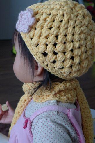 puff stitch hat and raspberry scarf