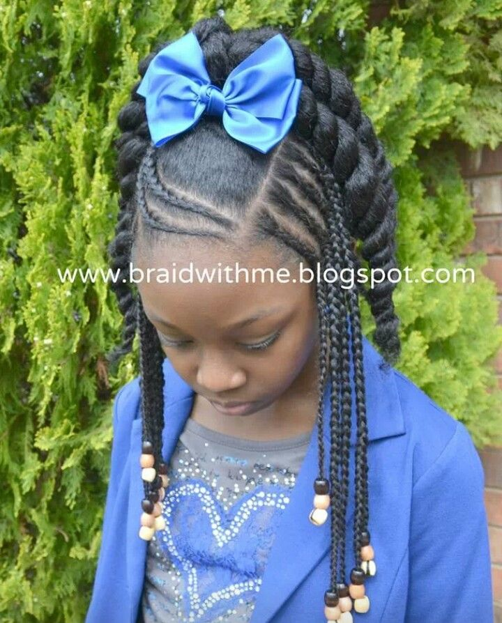 Braids n twists Natural Hair Care for kids | Go to www.naturalhairkids.com to see more tips, posts and pics like this! | natural hair | protective styles | detangling | natural hair kids | hair care tips | natural hair information | locs | natural hair inspiration | ponytails | braids | beads | caring for natural hair | natural hair tip | natural hairstyles for kids | children's hair | moisturizing hair | healthy hair | damaged hair | hairstyle ideas