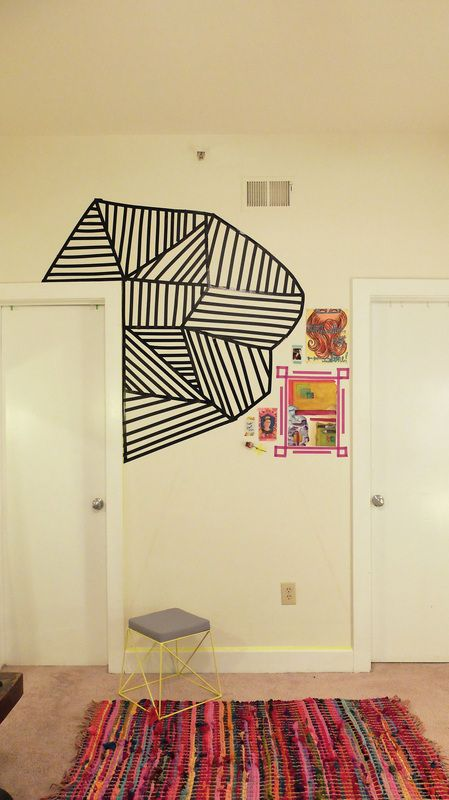 Washi tape wall diy home pinterest design tape for Washi tape wall designs