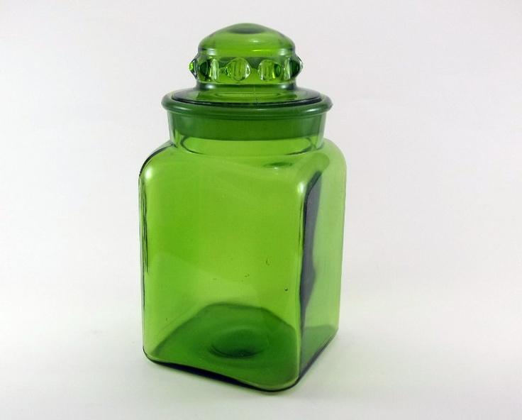 Vintage Glass Jar / Green Glass Canister   Lime Green Kitchen Decor    Kichen Storage Jar