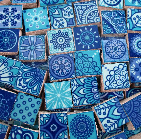 Fun bright colors of ceramic tile pieces used for mosaic art, jewelry or mixed media projects. Wherever your imagination takes you. Tiles measure from approx 1/2 x 1/2 across & approx 1/4 thick Approx 90 mosaic tile pieces - .25 square feet of tiles All low fire ceramic mosaic tile pieces are flat on the back Hand cut from a 6x6 larger tile. The edges are unfinished Sanded or unsanded grout can be used Not recommended for outdoors Made in the USA US-B-209
