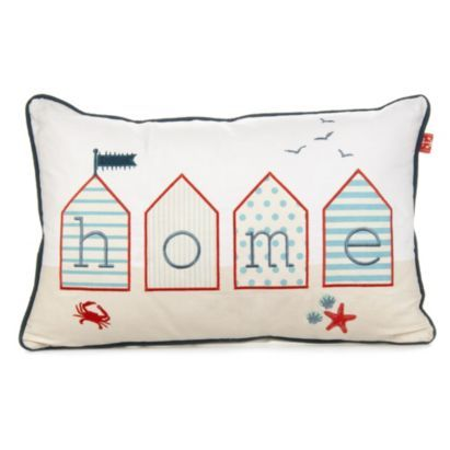 Bring home the Boscombe beach huts with this stylish embroidered applique cushion #BalticSummer