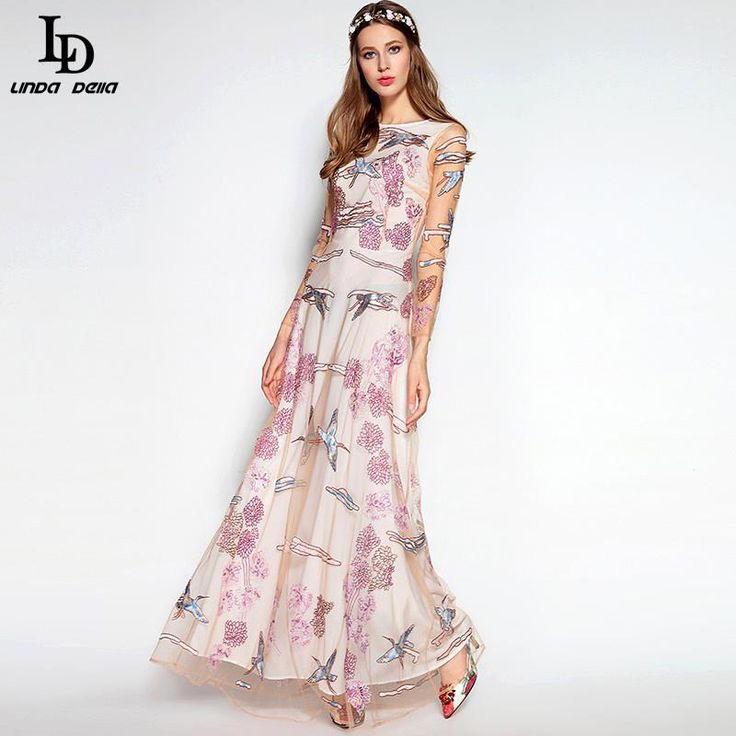 Long Sleeve Noble Voile Sequined Gold Line Flower Embroidery Floor Length Dress Like and Share if you agree! www.storeglum.com... #shop #beauty #Woman's fashion #Products