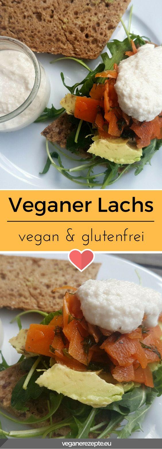 Veganer Lachs aus Möhren. Schmeckt top mit veganem Sahnemeerrettich. #vegan #lachs #möhrenlachs #karottenlachs #glutenfrei #veganfood #rezept