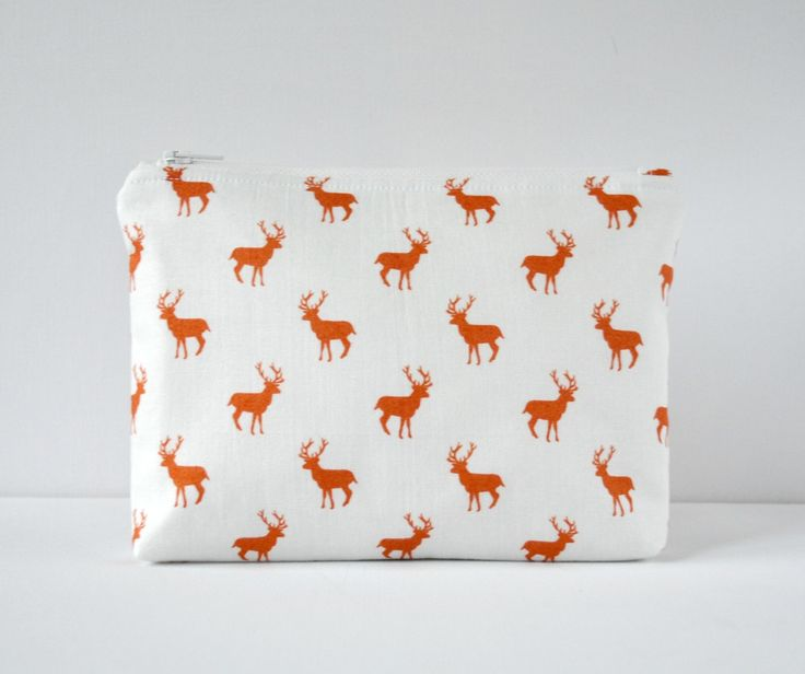 Padded woodland red stag deer silhouette cosmetics bag make up pouch in brown red and white. by CuriousMissClay on Etsy