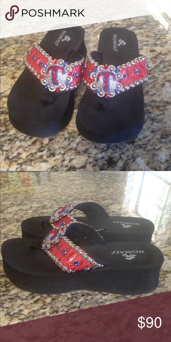 Custom flip flops Texas Rangers bling flip flops. Custom made. Worn twice. Shoes Sandals