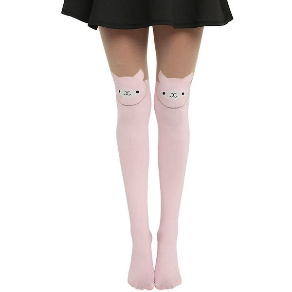 LOVEsick Alpaca Tights Hot Topic (35 RON) ❤ liked on Polyvore featuring intimates, hosiery, tights, pink stockings, pink pantyhose and pink tights