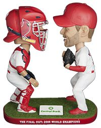 Don't miss the chance to relive one of the best moments in St. Louis Cardinals history. 30,000 fans, ages 16 & older will receive an Adam Wainwright and Yadier Molina dual bobblehead commemorating the last out of the 2006 World Series, courtesy of Central Bank of St. Louis.