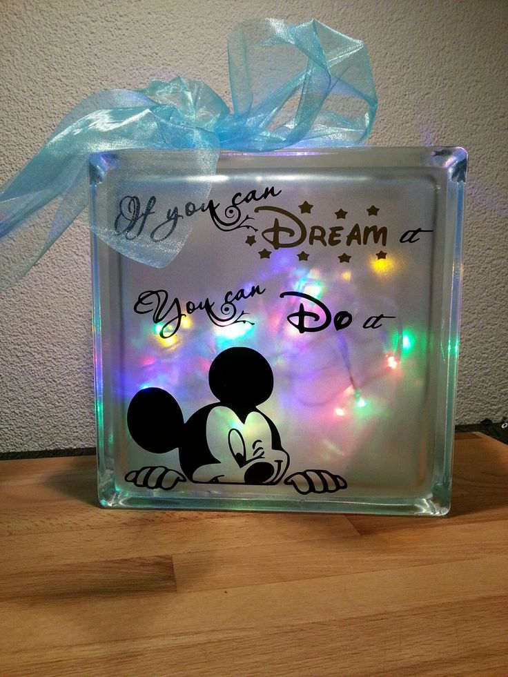 "Disney ""If You Can Dream It"" Glass Block @diyebookpublishing"