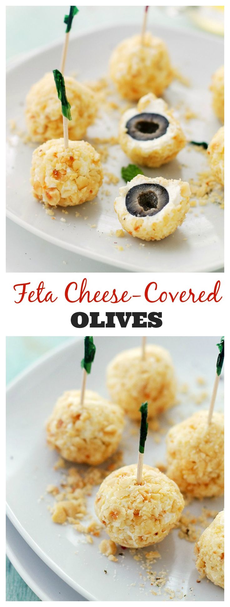 Feta Cheese-Covered Olives is a fun and incredibly flavorful appetizer made with olives covered in a feta cheese mixture and rolled in crushed hazelnuts. Get the recipe on diethood.com