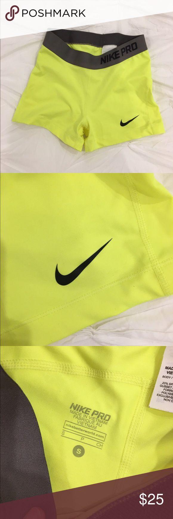 "Brand new never worn neon yellow Nike pro shorts. ""Tennis ball"" yellow, size small. Never worn, brand new :) Nike Shorts"