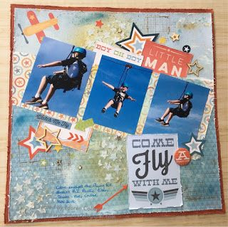 Come Fly With Me layout for Scrap The Boys challenge