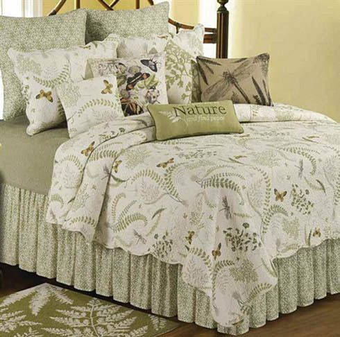 Botanical inspiration...The Althea quilt available in matching valances, drapery panels, shower curtain, bed skirt and fun pillows. Twin, F/Q. and King sizes @ CountryPorch.com